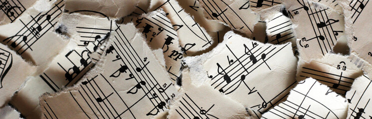 Torn musical notes, pieces of paper