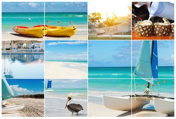 Photo collage of tropical island. Travel concept. Cuba, Varadero