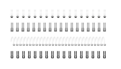 Vector set of realistic images (layout, mockup) of silver, black and white spirals for notebook, calendar, drawing album: a top view. The image was created using gradient mesh. EPS 10.