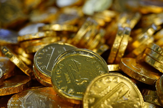 Chocolate coins candy wrapped in shiny foil