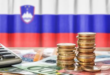 Fotomurales - Geldscheine und Münzen vor der Nationalflagge Sloweniens