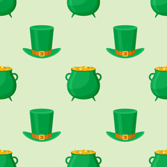 Seamless pattern with leprechaun hat and pot of gold on green background. Vector texture.