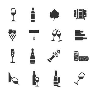 Vector set of wine icons.