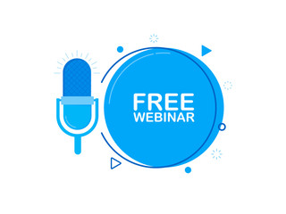 Free webinar online, with recorde microphone. Modern flat style vector illustration