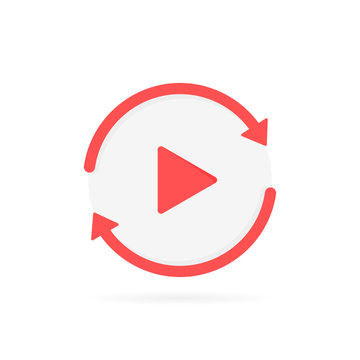 Video play button like replay icon. concept of watching on streaming video player or livestream webinar. Modern flat style vector illustration
