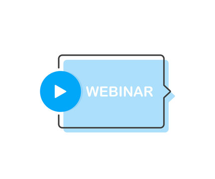 Webinar Icon, with play button. Modern flat style vector illustration