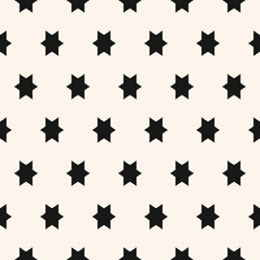 Simple geometric seamless pattern with star figures. Black and white ornament