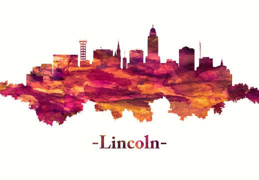 Lincoln city Nebraska skyline in red