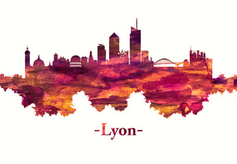Wall Mural - Lyon France skyline in red