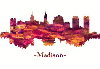Fototapete - Madison Wisconsin skyline in red