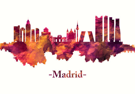 Madrid Spain skyline in red
