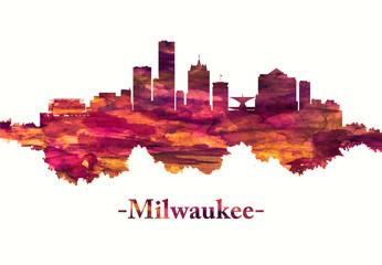 Milwaukee Wisconsin skyline in red
