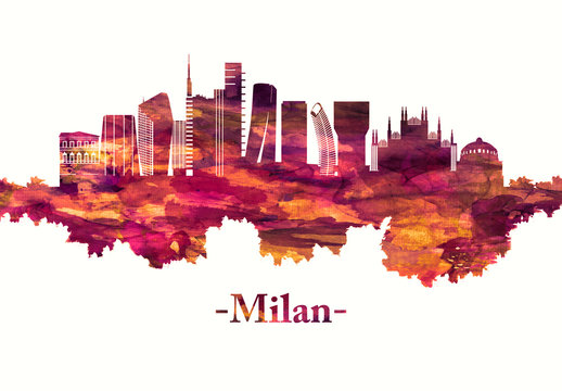 Milan Italy skyline in red