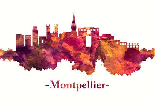 Montpellier France skyline in red