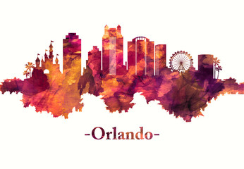 Fototapete - Orlando Florida skyline in red