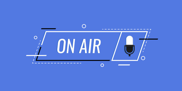 Podcast icon like on air live. concept of radio broadcasting or streaming. Modern flat style vector illustration