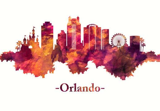 Orlando Florida skyline in red
