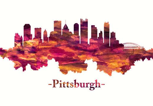 Pittsburgh Pennsylvania skyline in red