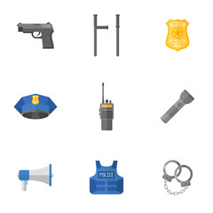 Set of police equipment, weapons isolated on white background. Flat style icons. Vector illustration.