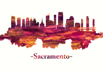 Fototapete - Sacramento California skyline in red