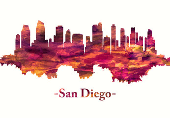 Fototapete - San Diego California skyline in red