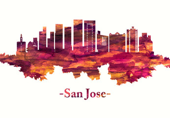 Fototapete - San Jose California skyline in red