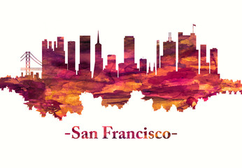 Fototapete - San Francisco California skyline in red