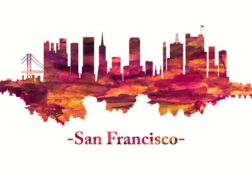 San Francisco California skyline in red