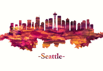 Wall Mural - Seattle Washington skyline in red