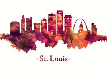 St. Louis Missouri skyline in red