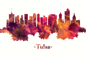 Fototapete - Tulsa Oklahoma skyline in red