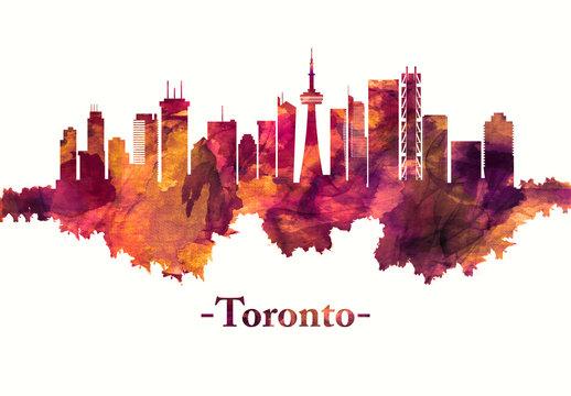 Toronto Canada skyline in red