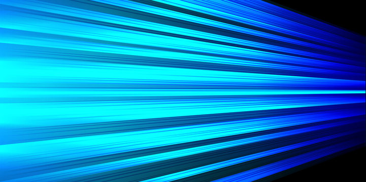 Abstract blue light power line fast speed zoom on black design modern technology futuristic background vector illustration.