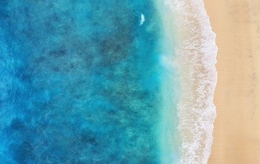 Beach as a background from top view. Turquoise water background from top view. Summer seascape from air. Bali island, Indonesia. Travel - image