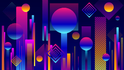Abstract Futuristic Geometric City background or Poster in  colorful colors and in flat style for internet web site or for screen mobile telephone or for wallpaper or for opening