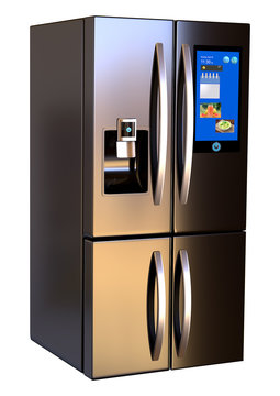 Modern side by side Stainless Steel Smart Refrigerator touch screen. Isolated on a White Background