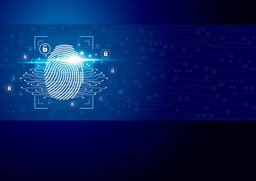Digital fingerprint scanner with technology background vector illustration