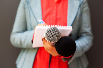 Female journalist at press conference, writing notes, holding microphone