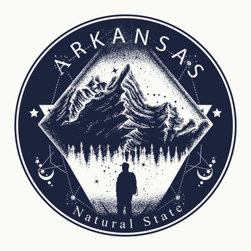 Arkansas. Tattoo and t-shirt design. Welcome to Arkansas, (USA). Natural state slogan. Travel art concept
