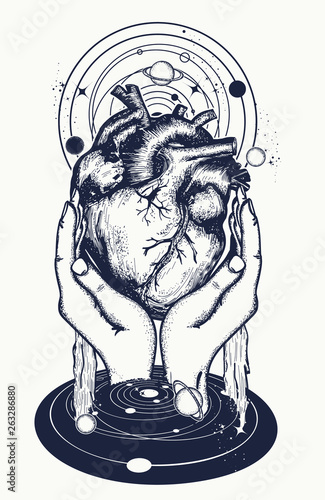 Anatomical heart, hands and universe  Tattoo and t-shirt design