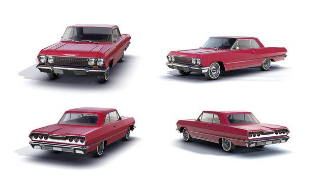 3d-renders of retro muscle car