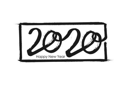 2020 Happy New Year of the Rat greeting card font. Chinese ink brush black calligraphy. Grunge dark number in hand drawn frame lettering on white background. Vector illustration