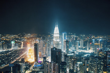 Night Kuala Lumpur city background