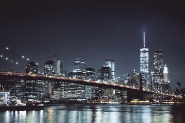 Fototapete - Night New York skyline