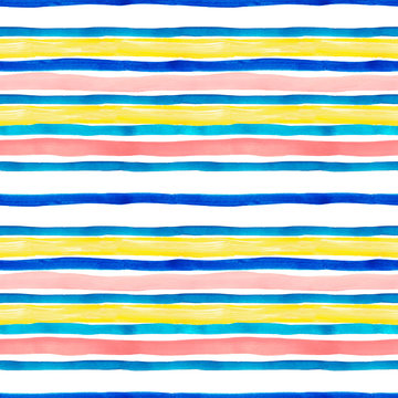 Watercolor striped seamless pattern with blue, turquoise, yellow and pastel pink stripes on white background.