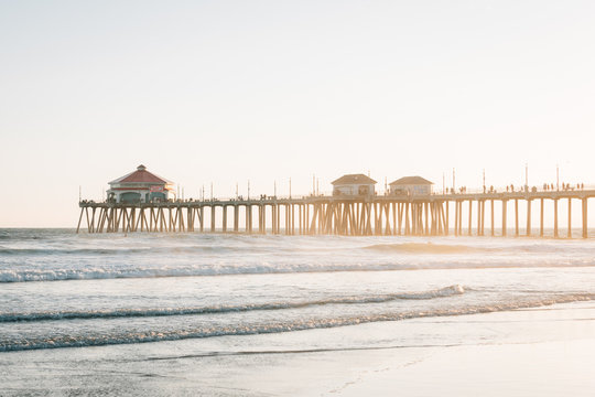 The pier at sunset, in Huntington Beach, Orange County, California