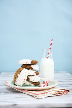 Christmas cookies with peppermint and a glass of mild]k
