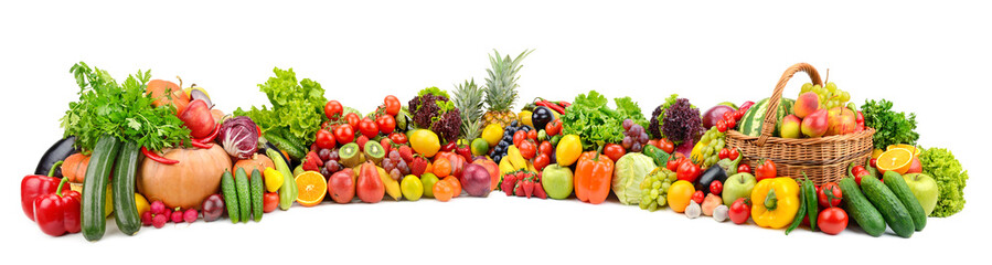 Wall Mural - Vegetables, fruits, berries isolated on white background