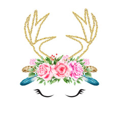Watercolor floral boho antler gold