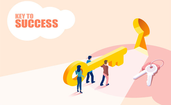 Isometric vector of group of people business team lifting key to success.
